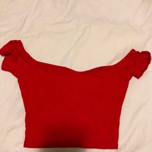 Red Cropped Off the Shoulder Shirt